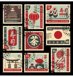Postage stamps on japanese cuisine vector