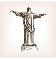 Christ statue hand drawn sketch style vector