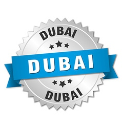 Dubai round silver badge with blue ribbon vector