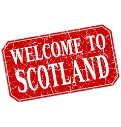 Welcome to scotland red square grunge stamp vector