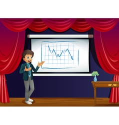 A stage with a boy presenting a line graph vector image