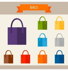 Bags colored templates for your design in flat vector image