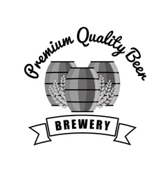 brewery premium quality beer barrels wooden vector image
