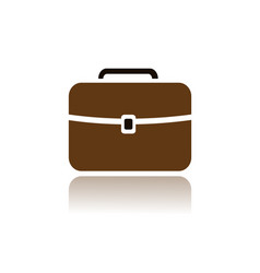 Briefcase icon with color and reflection on white vector