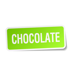 Chocolate green square sticker on white background vector