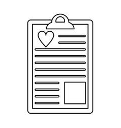 Clipboard heart report thin lin vector