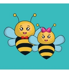 Cute bee stuffed icon vector