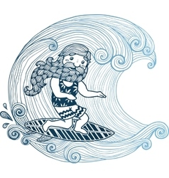 Doodle surfer with long beard at short board in vector