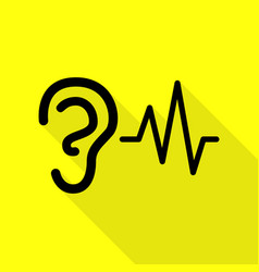 ear hearing sound sign black icon with flat style vector image vector image