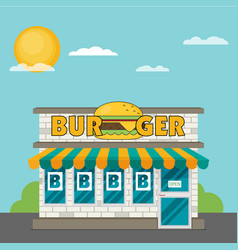 facade of burger shop flat vector image vector image