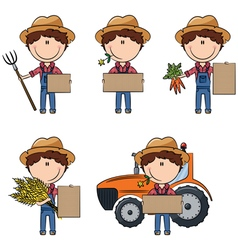 Farmer man holding cardboard for messages vector