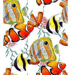 Fish and Coral Pattern3 vector image