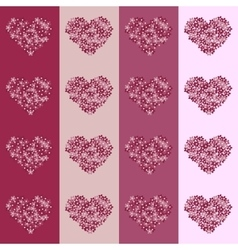 Floral heart on striped background seamless vector