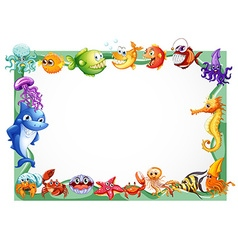 Frame design with sea animals vector image vector image