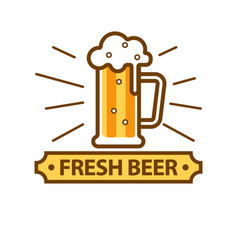 Fresh light beer glass with white foam logo on vector