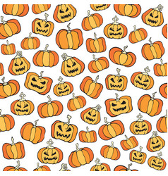 halloween pumpkin comic seamless pattern cartoon vector image vector image