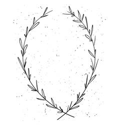 Hand drawn decorative laurel wreath vintage design vector