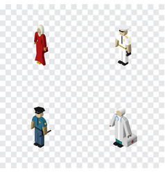 Isometric people set of medic seaman female and vector