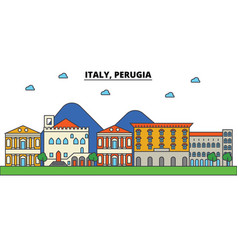italy perugia city skyline architecture vector image vector image
