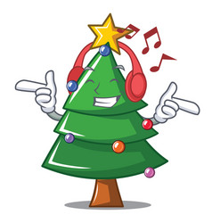 listening music christmas tree character cartoon vector image