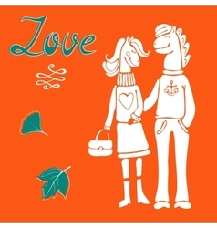 Love concept card with cute hand drawn horse vector