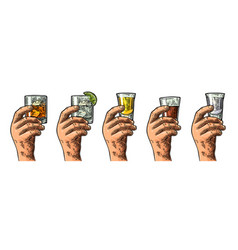 male hand holding glasses with tequila vodka rum vector image