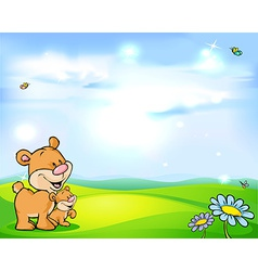 natural background with sky green meadow flower vector image