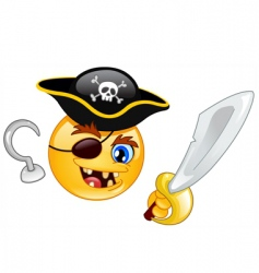 pirate emoticon vector image vector image