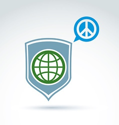 Round antiwar icon green planet on a shield and vector
