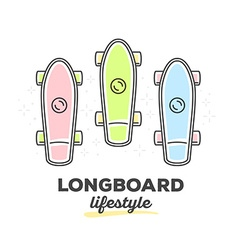 set of colorful longboards with text on w vector image