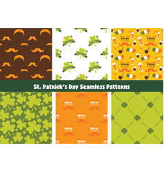 Set of seamless background patterns for st patrick vector