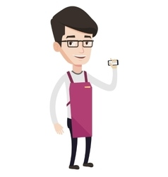 Small business owner using mobile phone vector