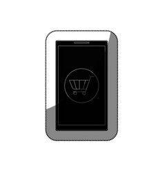 Smartphone with shopping cart isolated icon vector