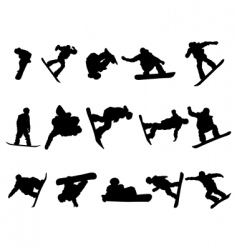 snowboarde man silhouette set vector image vector image