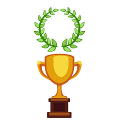 Trophy champion cup flat icon winner award vector