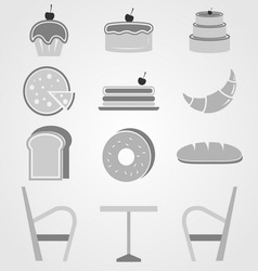 Variety of bakery icons in coffee shop vector
