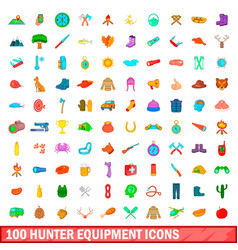 100 hunter equipment icons set cartoon style vector