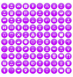 100 intelligent icons set purple vector