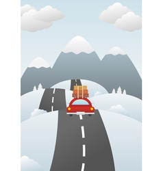 Winter landscape with car on the road vector