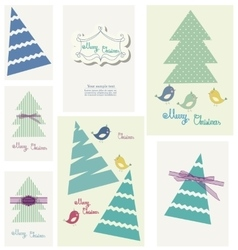 Set of winter colorfull greeting card for party vector image
