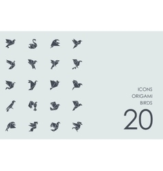 Set of origami birds icons vector