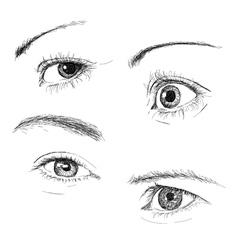 Hand drawn eyes vector image
