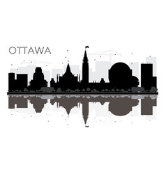 ottawa city skyline black and white silhouette vector image