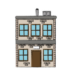House two story windows chimney image vector