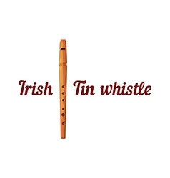 Wooden tin whistle vector