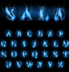 Blue fire letters sale vector
