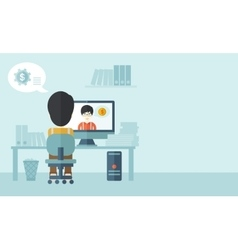 Two asian people talking online vector
