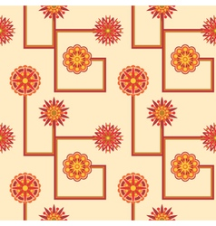 Retro abstract flower seamless pattern vector