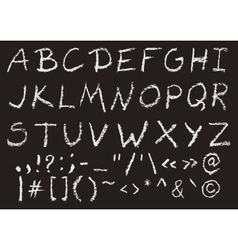 Hand written chalk uppercase english alphabet vector