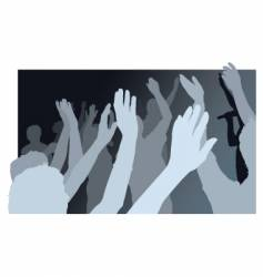 Crowd with waving people vector